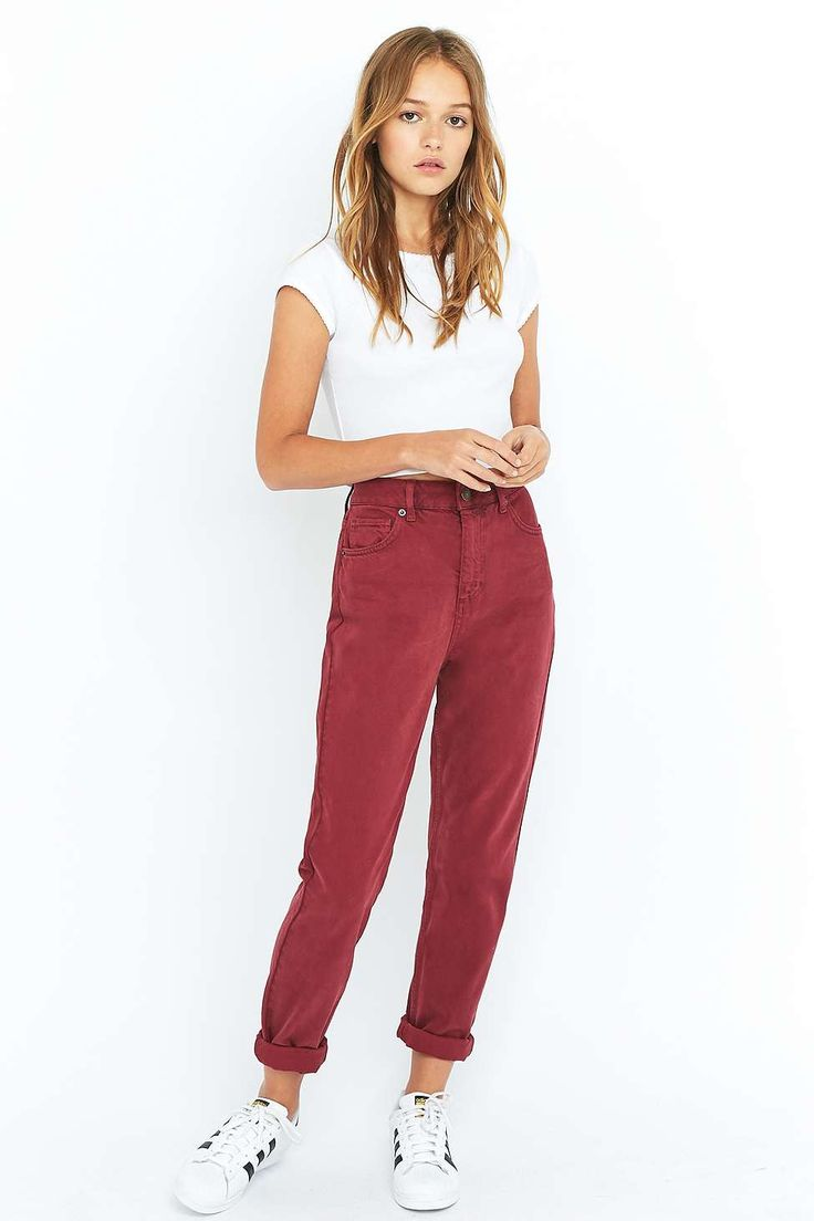 BDG Oxblood Red Mom Jeans