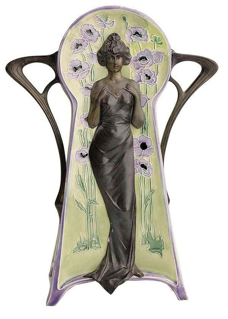 Art Nouveau vase with lady and poppy flowers | JV