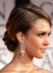 jessica alba low curly bun updo hairstyle with side parting