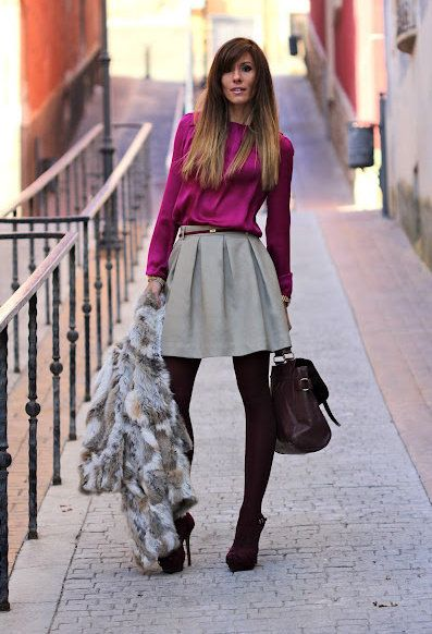 FUCSIA FOR SUNDAY  , Formula Joven in Shirt / Blouses, Sfera in Skirts, Sfera in Coats, Zara in Heels / Wedges, Primark in Bags