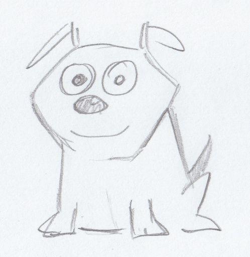 Sketch of a cartoon dog