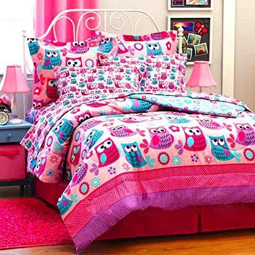 Nature Hoot Owls Amp Flowers Girls Pink Teal Twin Size