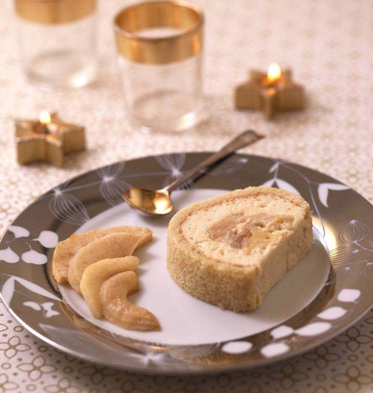 Bûche légère pommes rôties caramel au beurre salé et crème chiboust - les meilleures recettes de cuisine d'Ôdélices