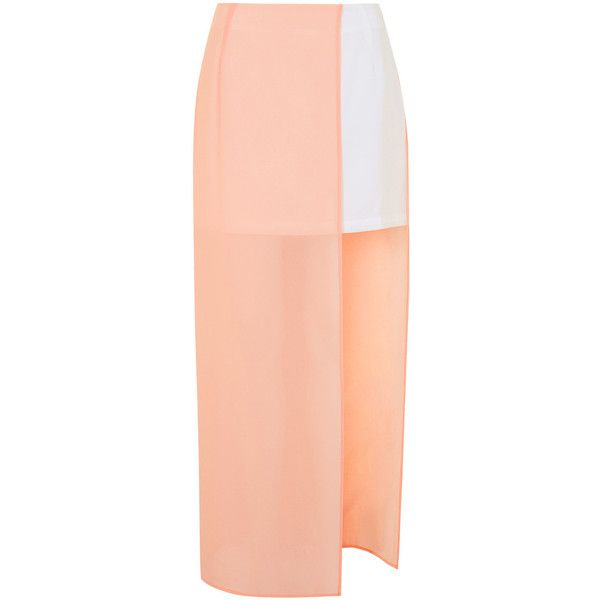 TOPSHOP **Sheer Panel Skirt by Jovonna (€59) ❤ liked on Polyvore featuring skirts, mini skirts, bottoms, faldas, saias, pink, red maxi skirt, short red skirt, topshop skirts and short maxi skirt