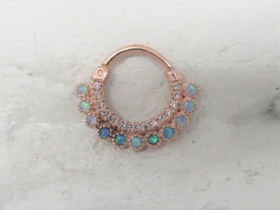 14k Rose Gold Septum Blue Opals Daith Piercing Clicker Ring 16g