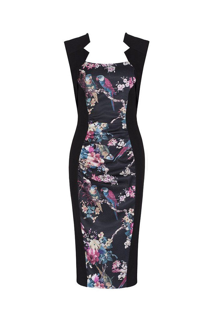 Black Panelled Bird Floral Print Wiggle Dress