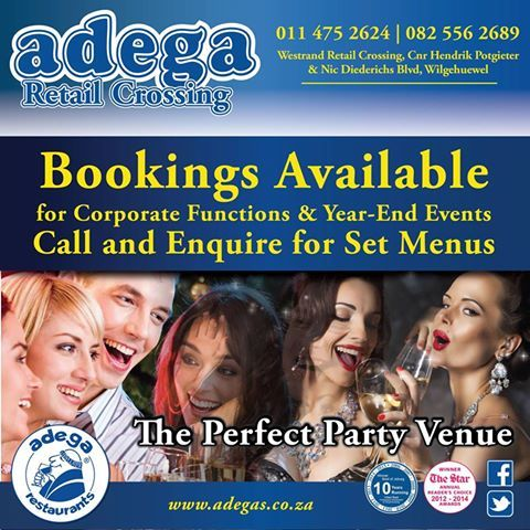 CORPORATE FUNCTIONS & YEAR-END EVENTS @ Adega Retail Crossing. *Book your Corporate Function or Year-End Event with us. *We can also organise Set Menus.  Call us on 011 475 2624/082 556 2689. #AdegaRetailCrossing #FunctionsAndEvents #PartyVenue https://www.facebook.com/AdegaRetailCrossing/photos/a.363677530340978.77891.363664573675607/1001717239870334/?type=3&theater