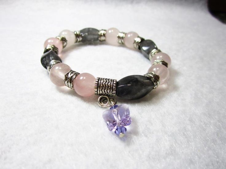 Rose Quartz & Gray Agate with Swarovski Butterfly Charm: Agates foster love, truthfulness, courage, bravery, strength, abundance, wealth....for more info: http://harmonybyjami.com/bracelets.html: Rose Quartz