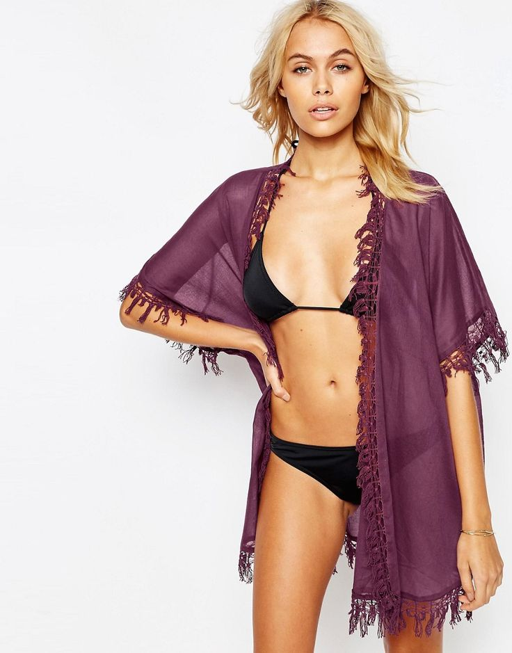 Image 1 ofASOS Fringed Beach Kimono