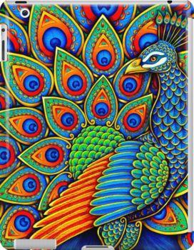 Colorful Paisley Peacock Rainbow Bird Ipad Snap Case by Rebecca Wang