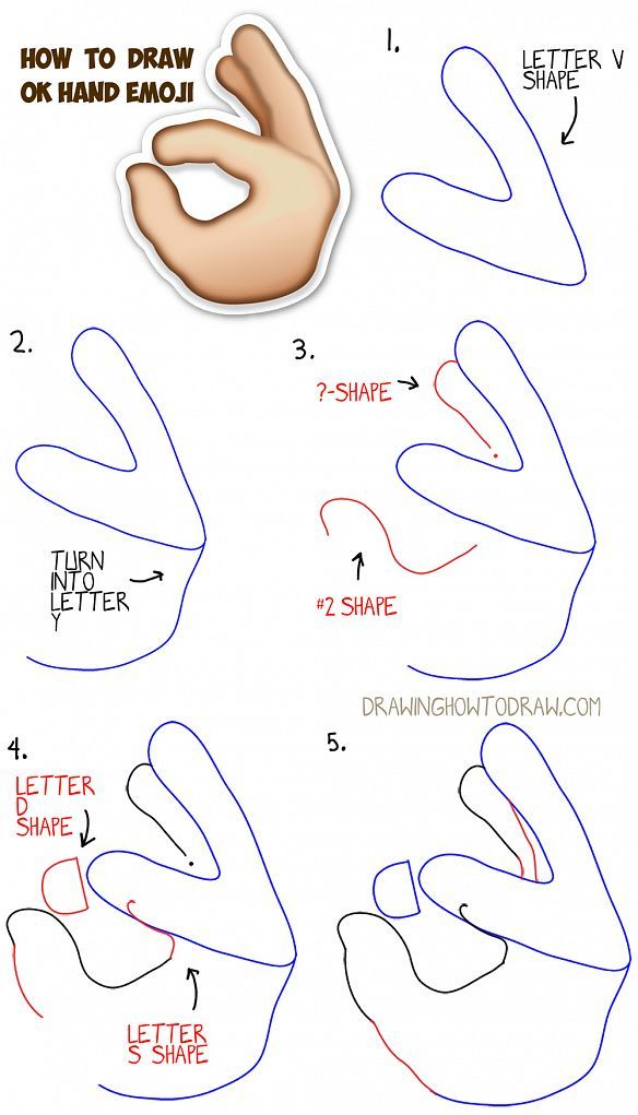 How to Draw OK Hand Emoji with Simple Step by Step Drawing Tutorial