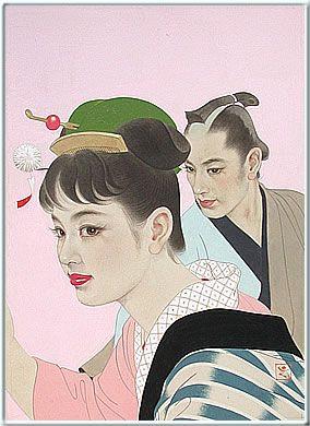 志村 立美 花簪の少女と男 1955年頃