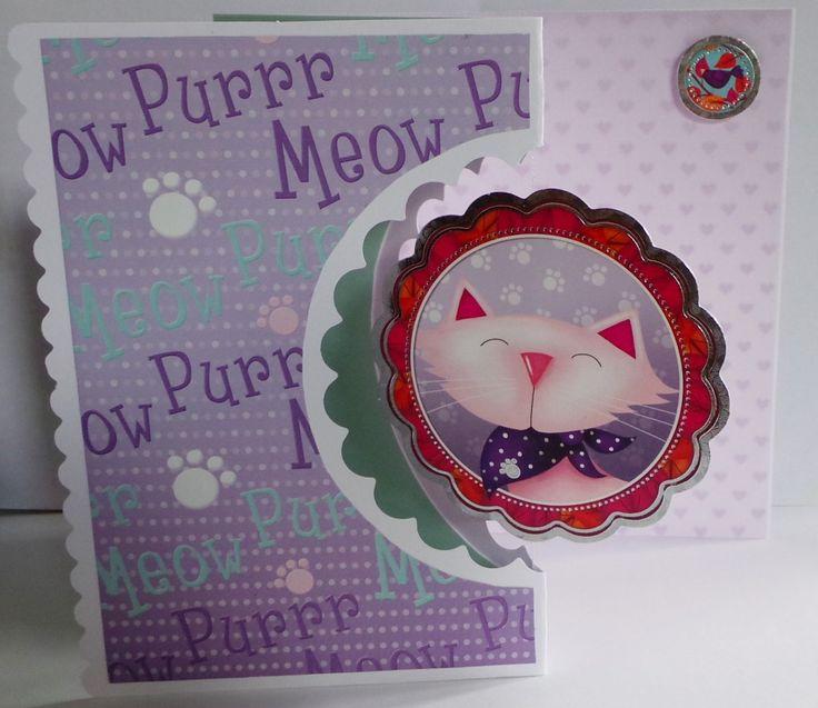 Cute kitten, spinning, greeting card