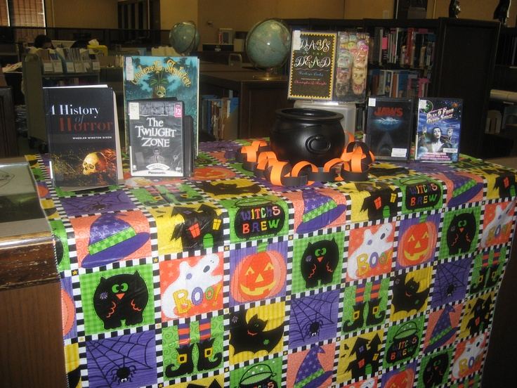 Books and DVDs display Halloween 2012 at Copley Library