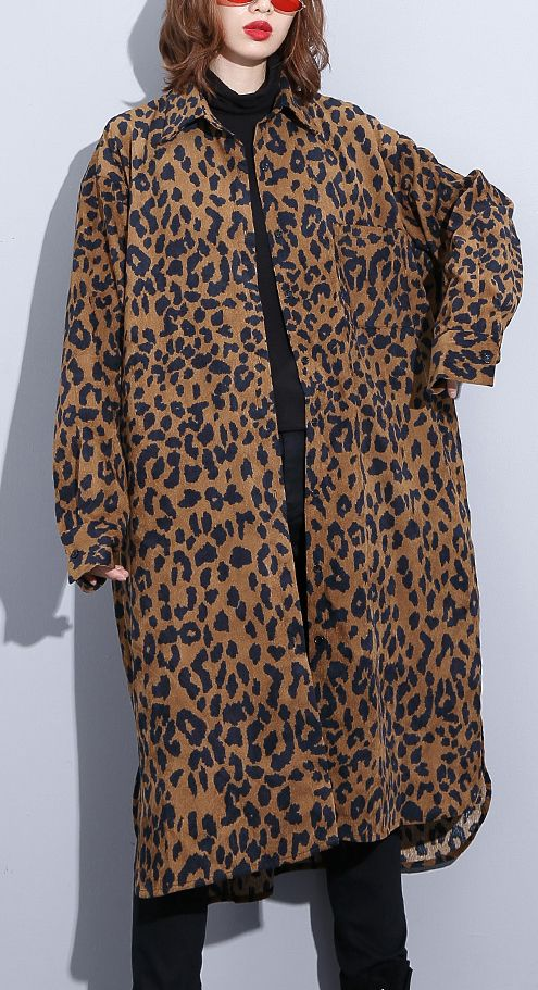 cc93a62f062f 2018-chocolate-Leopard-coat-plus-size-clothing-dress-side-open -casual-Turn-down-Collar-Button-coat