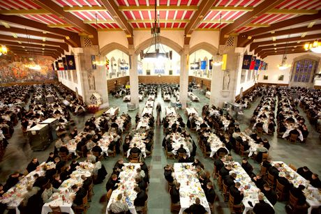 West Point Mess Hall inside Washington Hall - The entire corps of over 4,000 cadets are all served at once!!!
