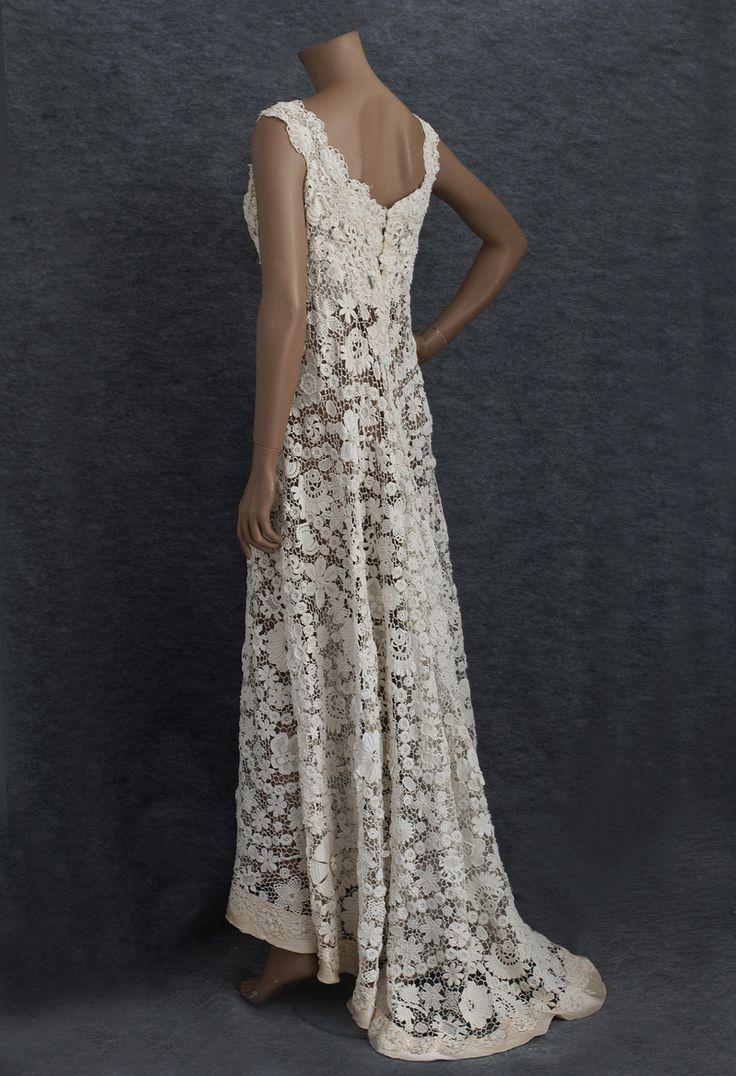 Irish Crochet wedding dress- back