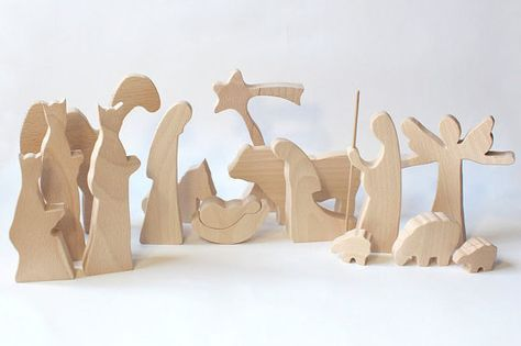 Modern Wooden Nativity - NATURAL Christmas creche Wood nativity Nativity set Nativity scene Nativity figures Nativity silhouette