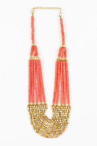 .Coral Necklaces, Fashion, Beads Necklaces, Rocks Candies, Gold Necklaces, Accessories, Bib Necklaces, Candies Bibs, Bibs Necklaces