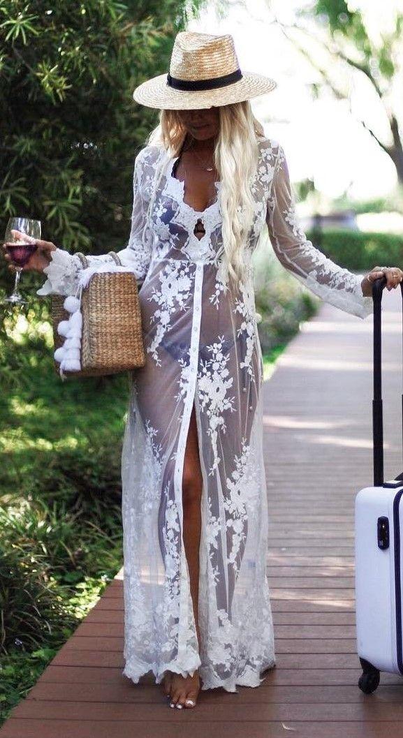 summer outfit idea: hat + bikini + lacer dress