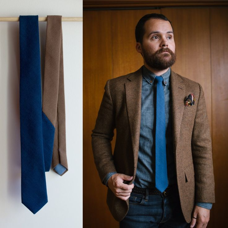 Have a look at our navy and tan colour block tie, made from a linen blend fabric. Perfect for a business casual look.