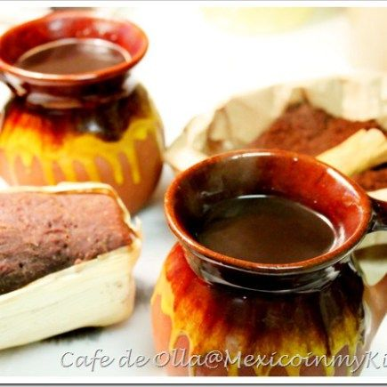 Café de Olla Recipe - There's one thing that you would always find in my grandma's kitchen: the large enamel blue pot with coffee.