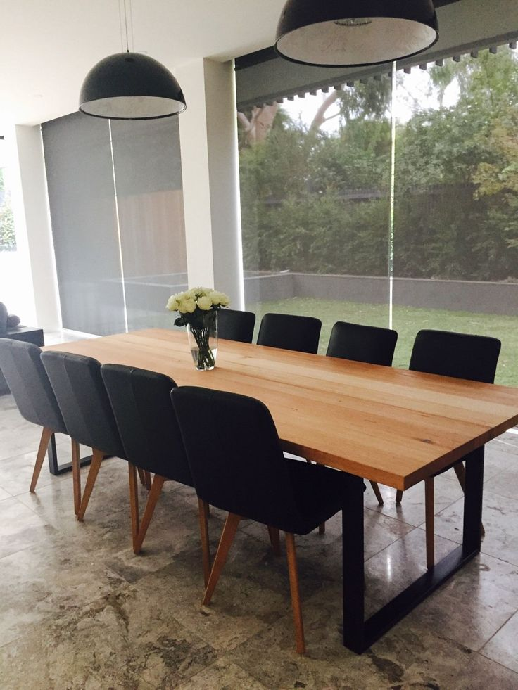 large handmade local vic oak ash dining table industrial steel loop leg in vic ebay. Interior Design Ideas. Home Design Ideas