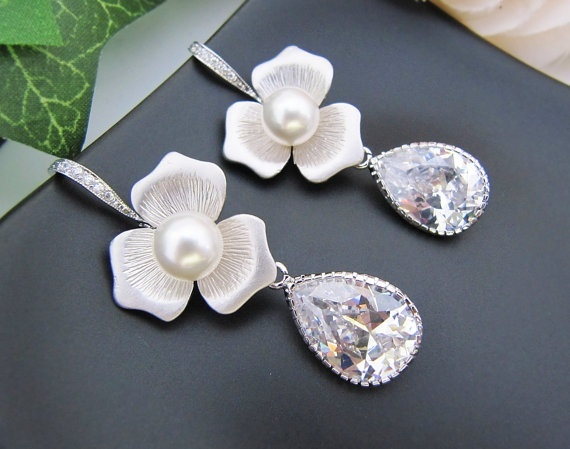 Bridal Earrings Bridesmaid Earrings Matte rodium plated flower with Crystal White Swarovski pearls and Cubic zirconia Tear drops -$46.00
