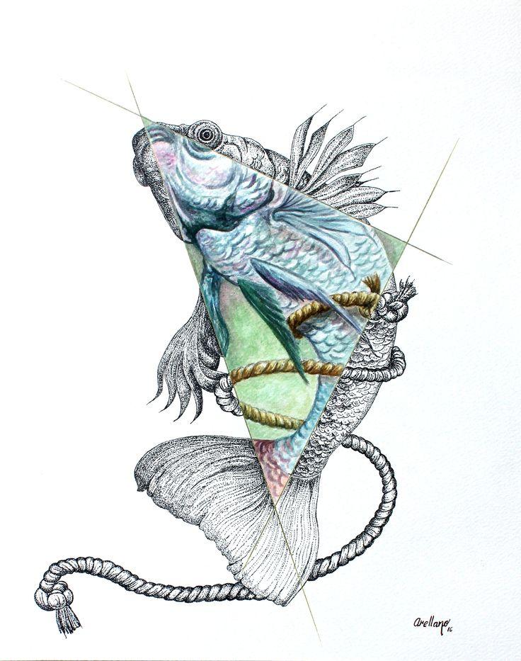 """""""Liberado"""", técnica:acuarela y tinta."""