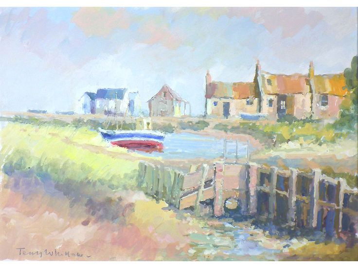 'Low Tide, Brancaster, by Terry Whittaker. Original signed & frame gouache painting. North Norfolk Coast.
