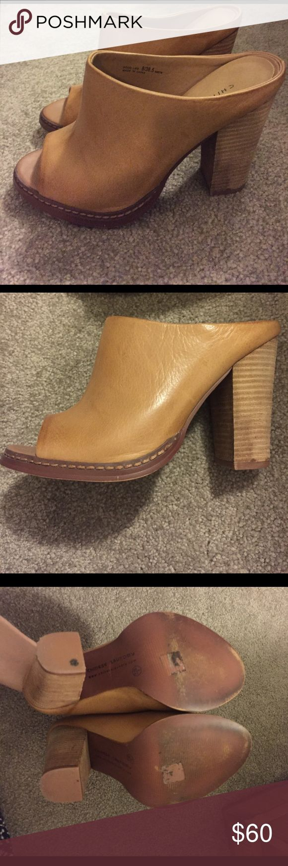 Chinese Laundry tan leather mules Chinese Laundry tan leather mules - super minimally worn, great condition. Make me a reasonable offer! Chinese Laundry Shoes Mules & Clogs