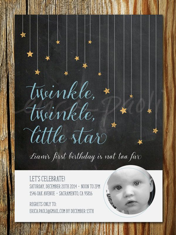 first birthday invitation for my son%0A Twinkle  Twinkle  Little Star Birthday Invitation Printable  u     First  Birthday Invite with Photo