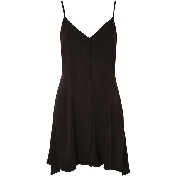 Topshop Petite Button Asymmetric Dress ($38) ❤ liked on Polyvore featuring dresses, topshop, black, rayon dress, petite short dresses, button dress, strap dress and button down dress