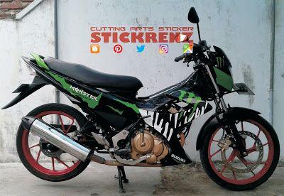 Suzuki Satria FU150 Black Red - Black Gloss Wrap & Custom Monster Energy Stripe #suzuki #suzukimotor #suzukisatria #satria #satriafu150 #satria150 #monsterenergy