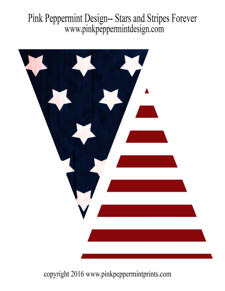 Stripes Forever 4th of July Printable Pennant Banner.  It's perfect for all of your patriotic summer parties and election night parties. - Pink Peppermint Design