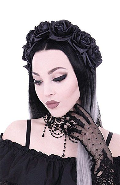 Restyle Gothic Floral Hair Garland Nu Goth Roses Headband - Black (One-Size)