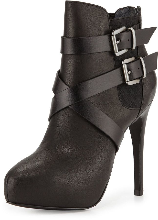 Charles by Charles David Fame Buckle Leather Platform Bootie, Black