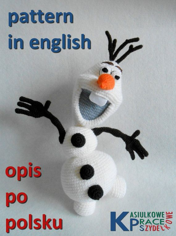 """Crochet Olaf """"Frozen"""" PATTERN in english and polish. PATTERN included 27 pages with 36 Olaf's and parts' of Olaf photo. SIZE: Olaf measures around 40 cm. This Olaf is not hard to make if you know all the basic crochet terms: • magic ring, • single crochet, • half double"""