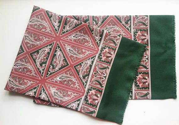 Vintage Two Sided Scarf Pink Green 118 cm x 21 cm / 46.5 inch