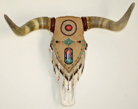 Western Boho Bead Embroidered Cow Skull Free By Renegibson On Etsy 2200 00