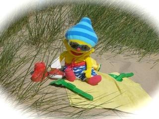 Puk & Ko; peuterprogramma. Puk, de pop, gaat over maar naar toe, ook op het strand