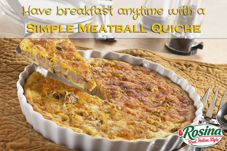 Simple Meatball Quiche   Servings: 6  1 - 12 oz. bag of Rosina HomeStyle Meatballs 1 cup onions, diced 1.5 cups shredded cheddar cheese(reserve 1/2 cup for topping) 1/2 cup biscuit mix 1 cup milk 2 eggs salt & pepper to taste Directions  Heat oven to 400°F. Spray 9-inch glass pie plate with cooking spray. In a 10-inch skillet, heat meatballs and onion over medium heat for 8-10 minutes, stirring occasionally until meatballs are heated through. Stir in salt and pepper. Spread in pieplate…