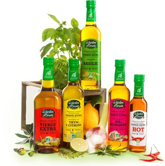 Huiles d'olive, cornichons, sauces salade sans huile, vinaigres balsamiques - Jardin d'Orante