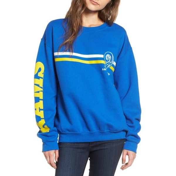 Women's Junk Food Retro Nfl Team Sweatshirt ($75) ❤ liked on Polyvore featuring tops, hoodies, sweatshirts, rams, retro tops, blue sweatshirt, nfl sweatshirts, junk food clothing and nfl top