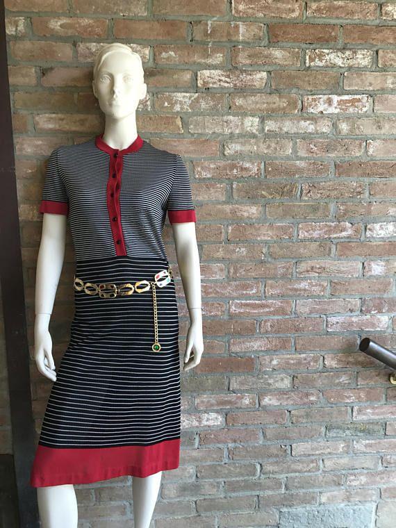 60's Lanvin classical polo dress striped black white and