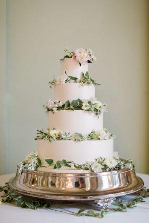 Wedding Cake with Greenery on Tiers