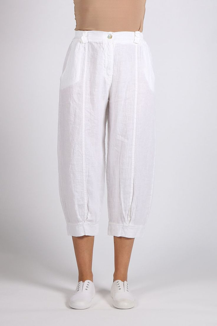 Talia Benson - Cropped Linen Pant By Talia Benson In White