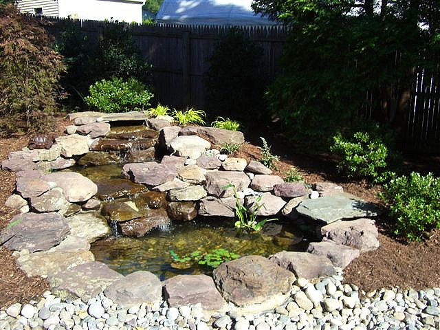 14 best images about backyard fish pond on pinterest for Home ponds and waterfalls