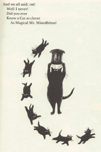 Edward Gorey. Illustration from 1980s edition of T.S. Eliot's Old Possums Book of  Practical  Cats.