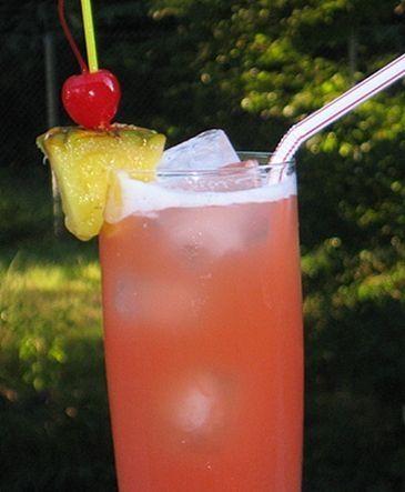 Caribbean Breeze (1.5 oz Light Rum 1.5 oz. Malibu Coconut Rum 4 oz. Pineapple Juice .5 oz Grenadine) by gertrude